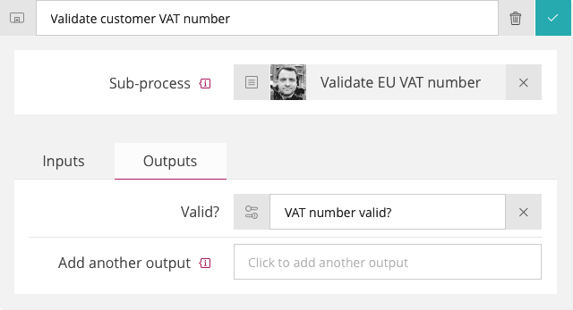 VAT number validation - Sub-process action configuration - outputs