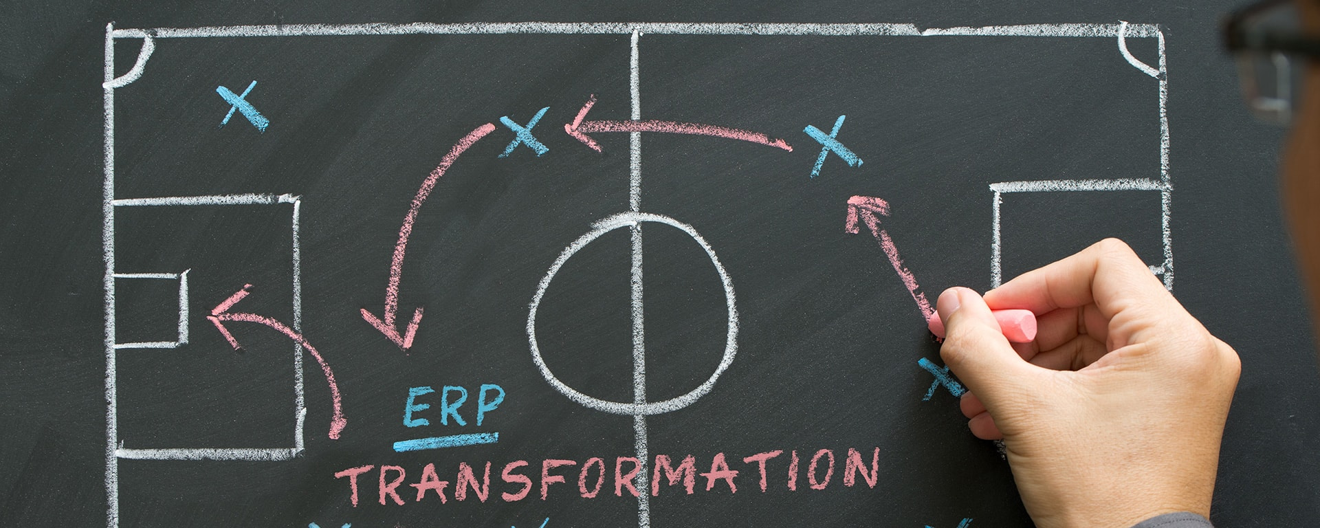 ERP Transformation tactics - Man planning for a football strategy on blackboard