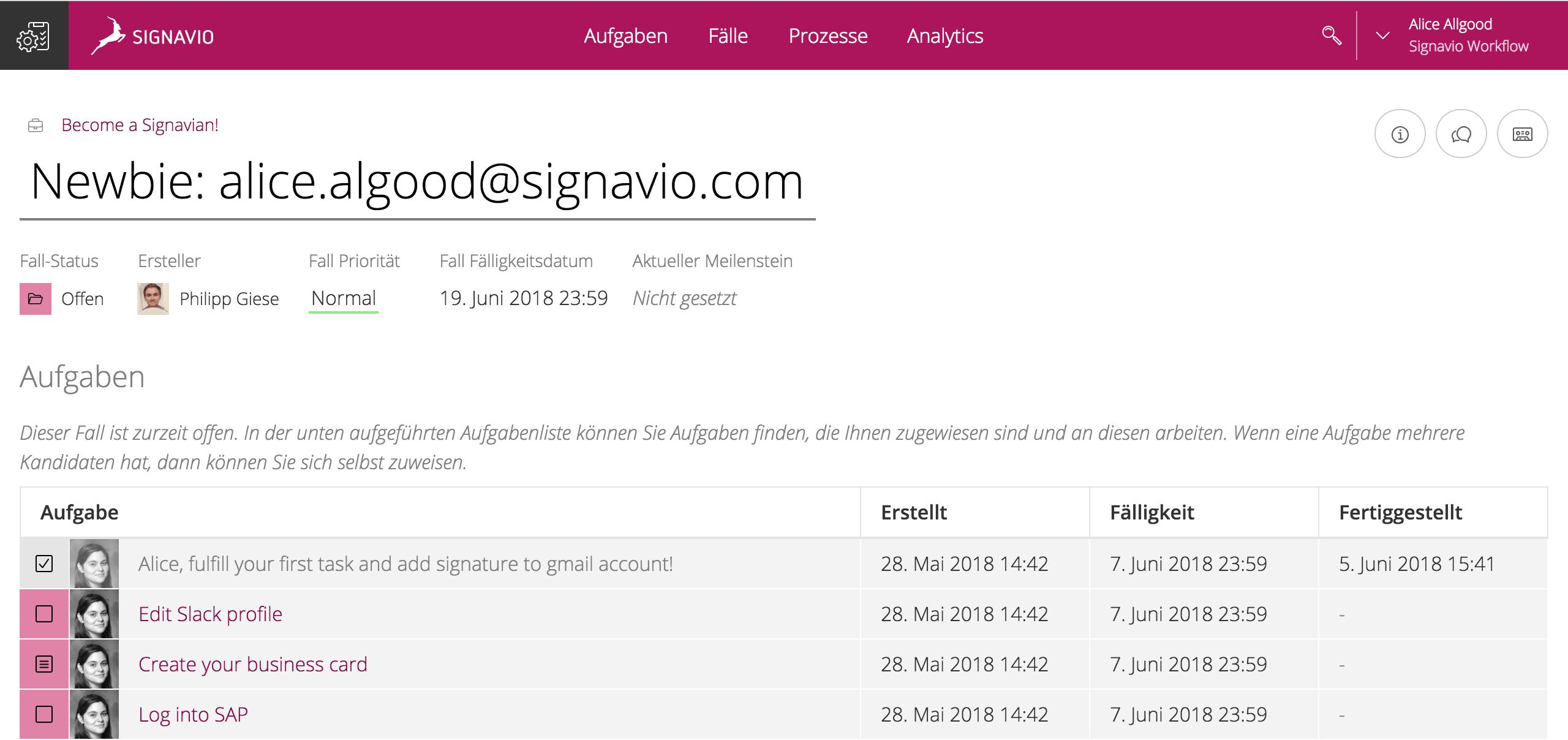 """Signavio-Workflow """"Become a Signavian"""": Erste Aufgaben für neue Teammitglieder"""