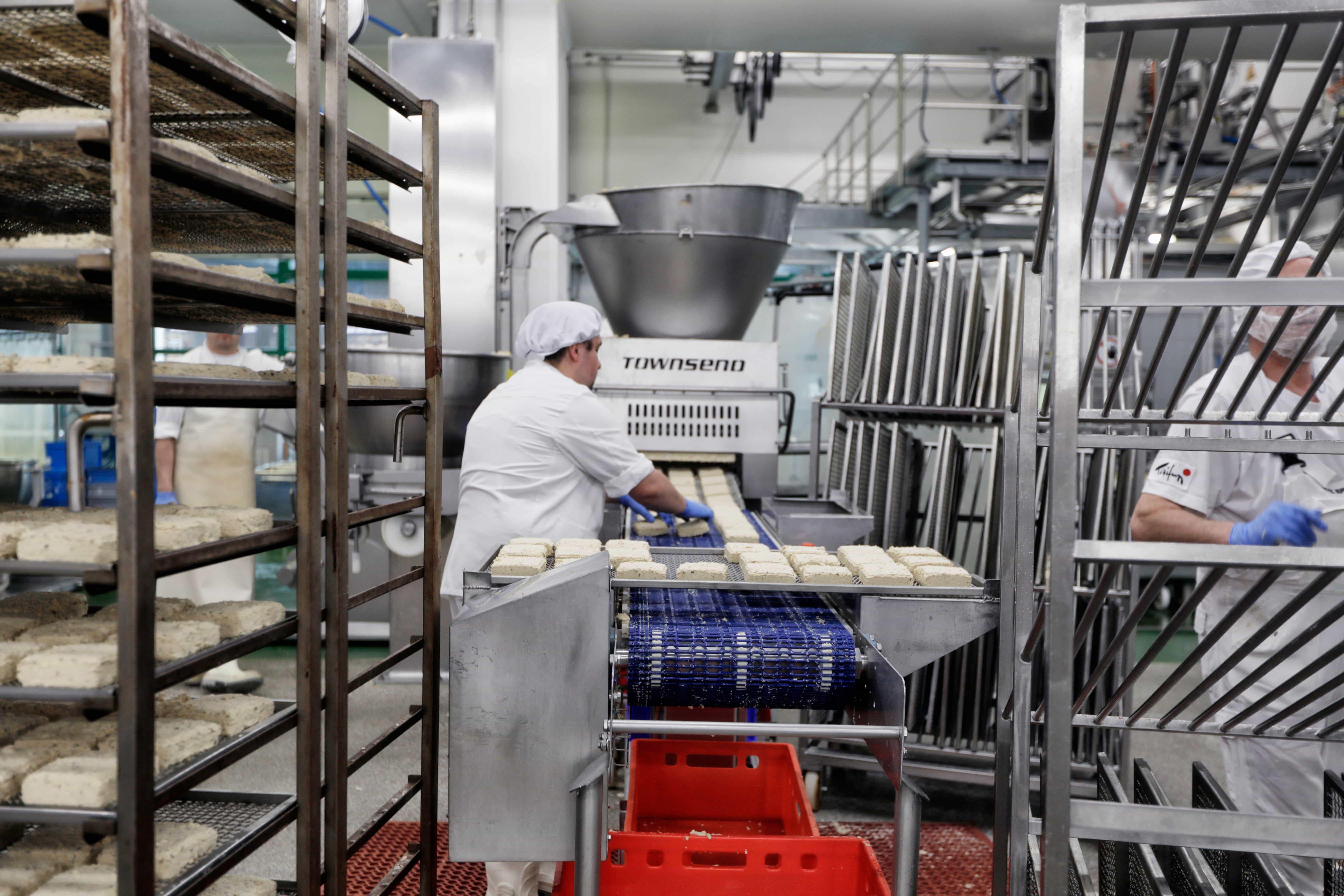 Tofu factory, person putting tofu onto conveyor belt