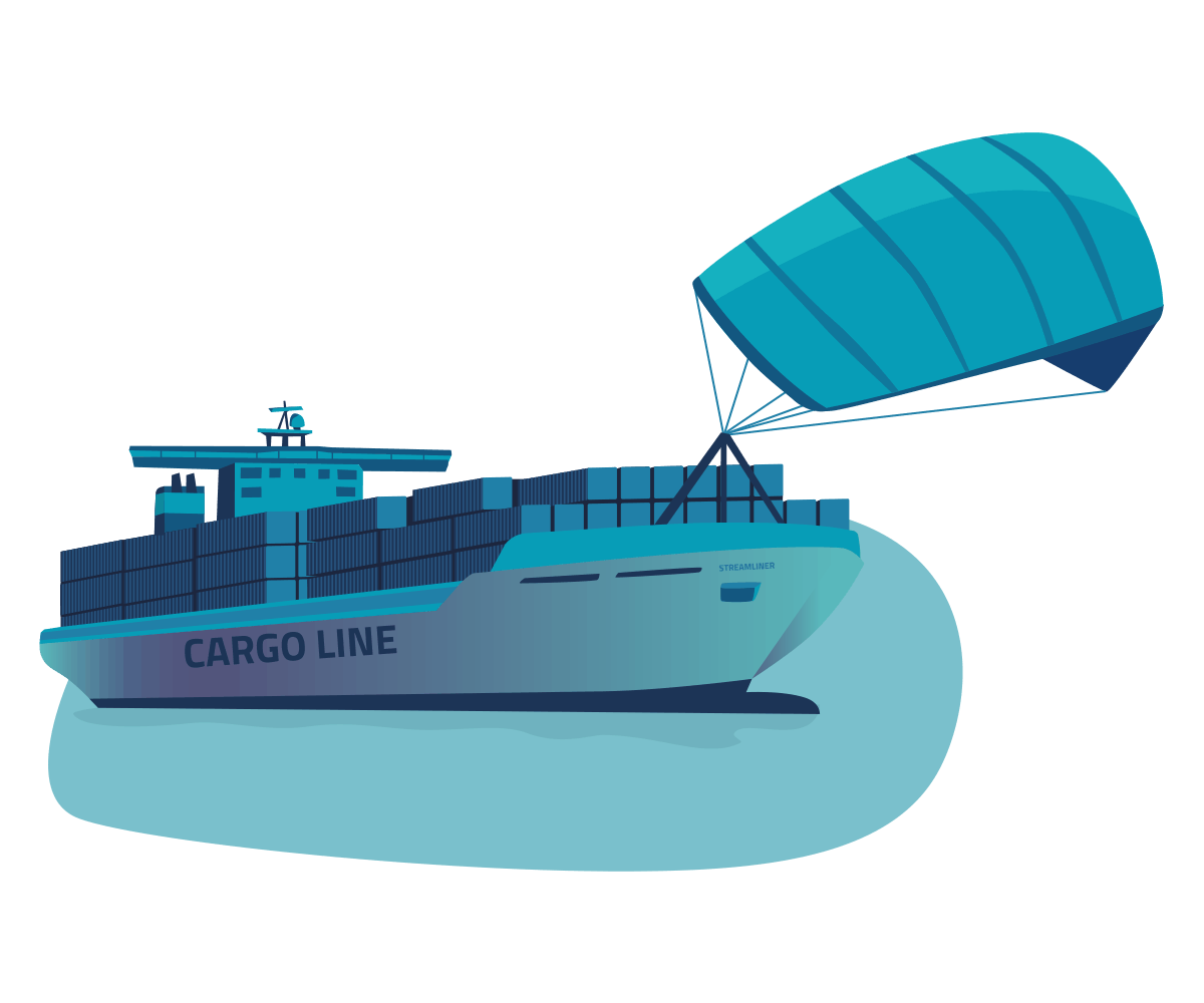 Operational Excellence - cargo ship with a kite