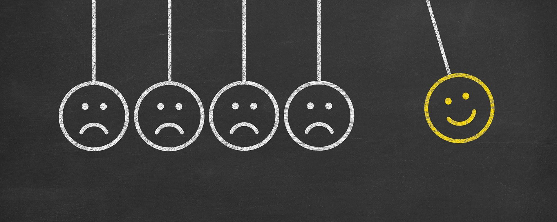 damage customer satisfaction blog image -happy and sad smiley faces