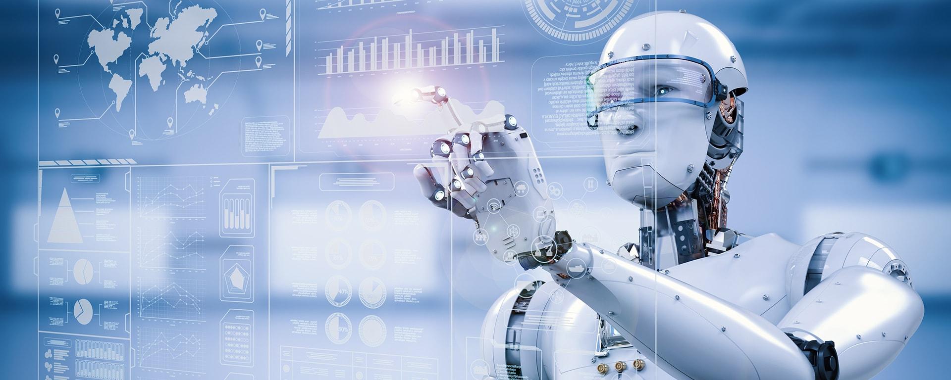Robotic Process Automation Titelbild Roboter berührt ein Board