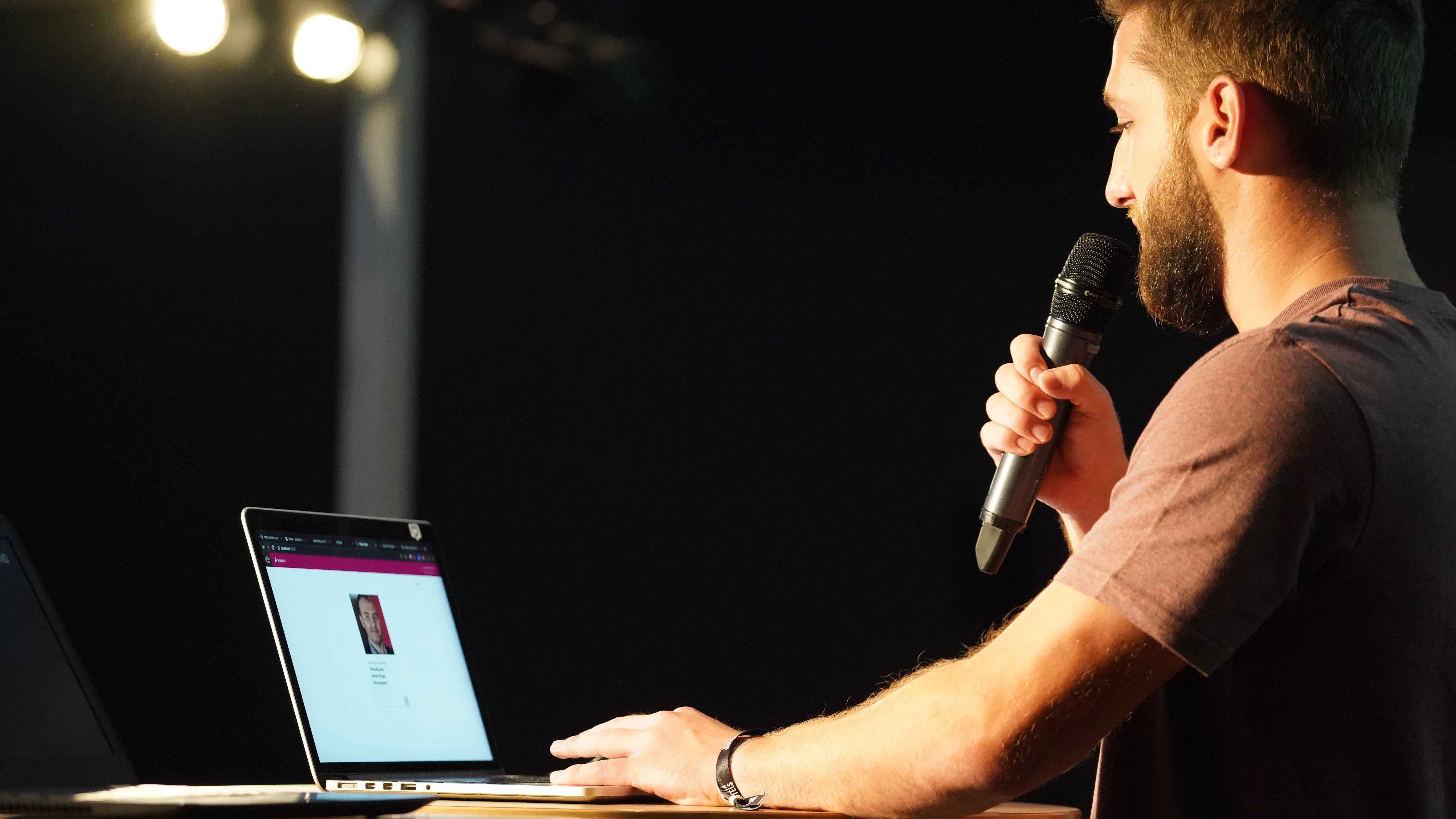 Code Camp 2019 - man presenting at podium with microphone