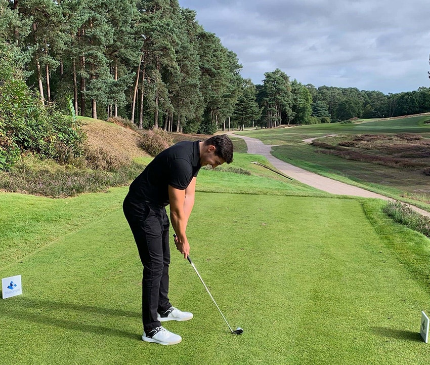 blue prism charity golf day - photo of man playing golf