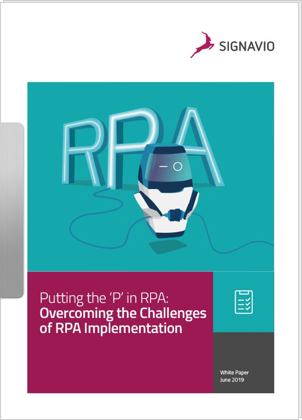 Front cover image - overcoming the challenges of RPA implementation