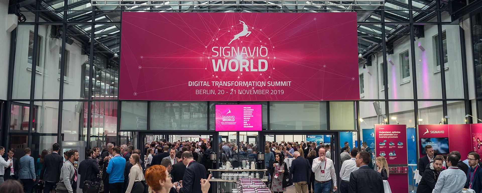 Signavio World 2019 entrance hall with sign