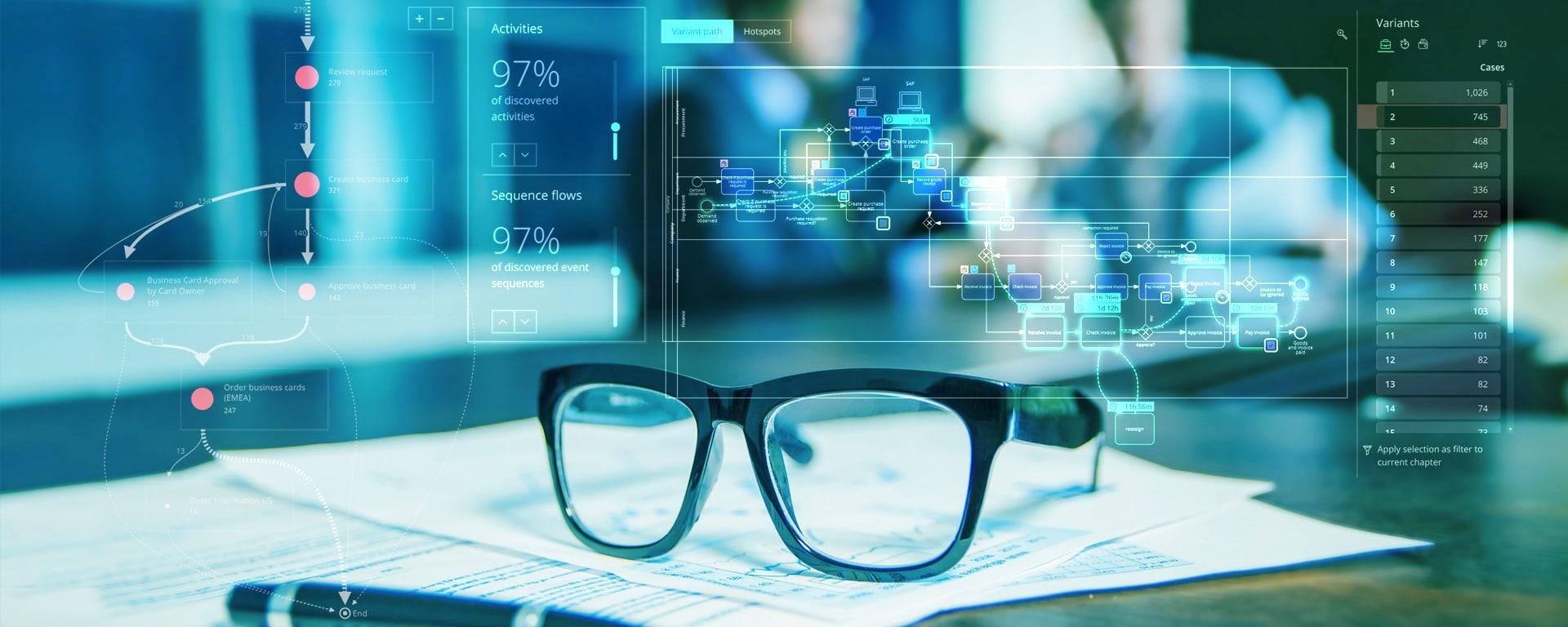 Process Mining für Banken Blog Header-Bild - Brille auf Papier