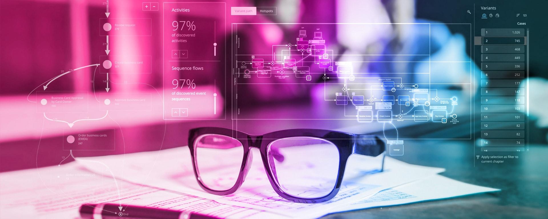 Process Mining für Banken Blog Header-Image - Brille auf Papier vor magenta-farbenem Hintergrund