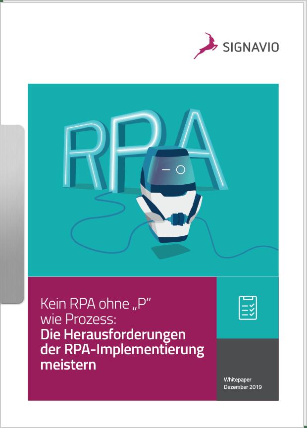 Wie Sie die RPA-Implementierung meistern, Titelbild, Roboter vor RPA-Schriftzug