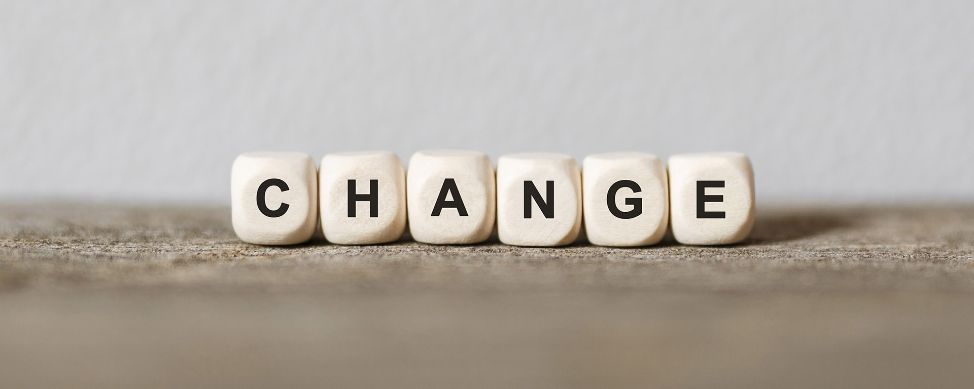change at work survey - cubes in a row show the word change