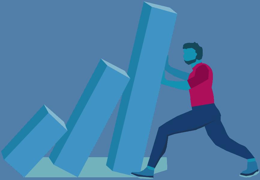 Illustration of a man pushing blocks