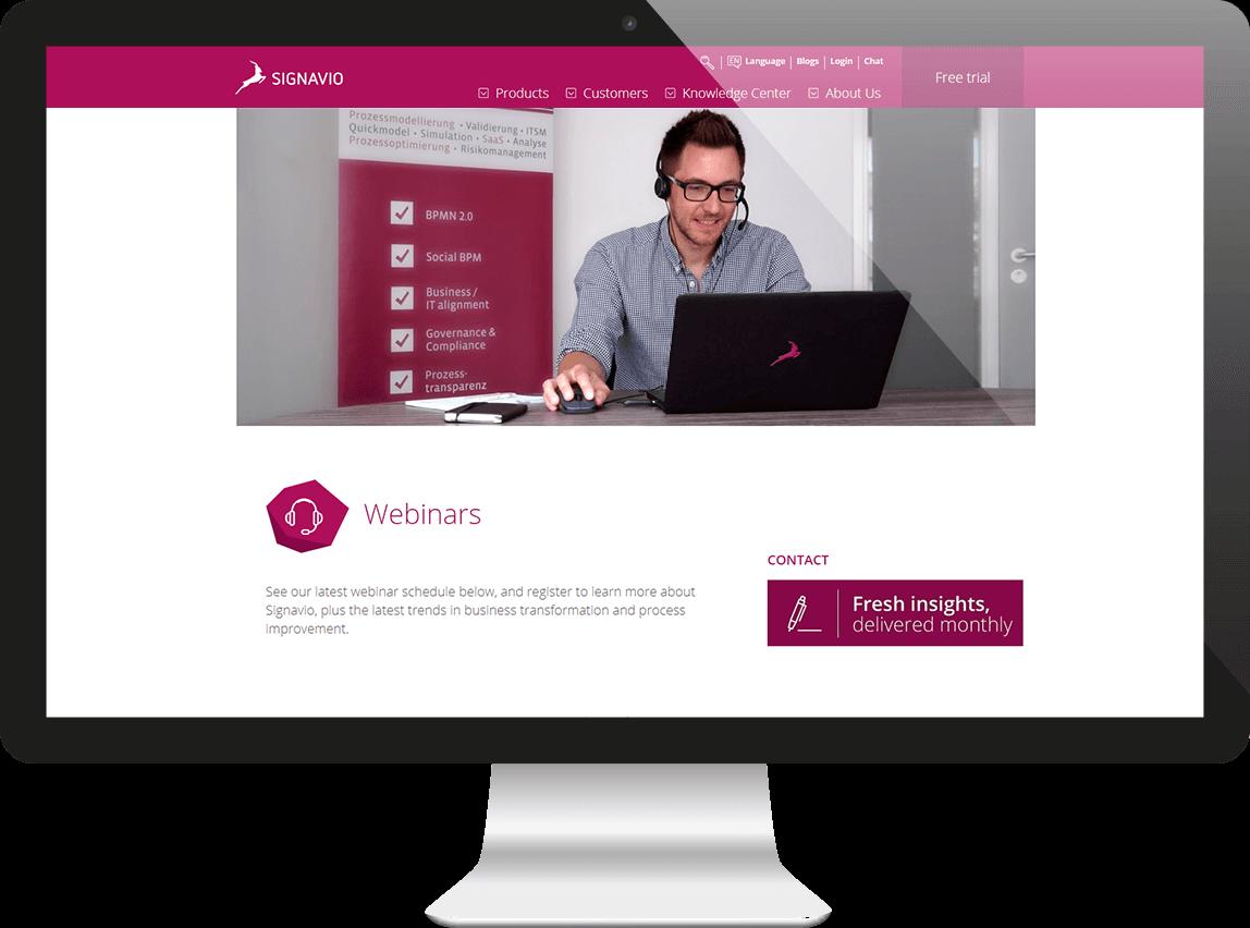 Signavio webinar page on a screen