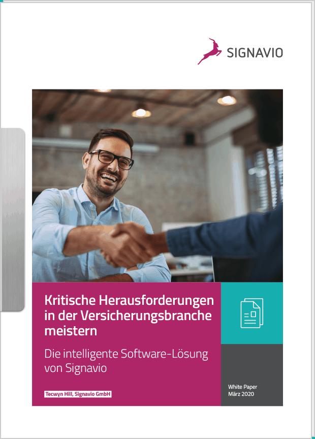 Kritische Herausforderungen in der Versicherungsbranche meistern_Titelbild Signavgio Whitepaper