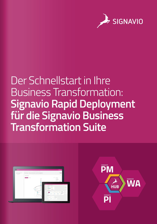 Signavio Rapid Deployment Broschüre für die Business Transformation Suite Titelbild