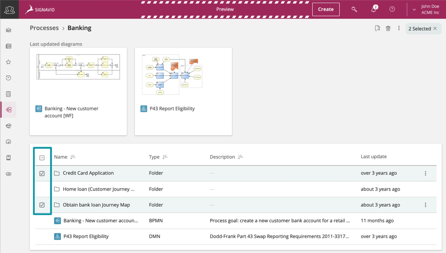 screenshot showing content organization functions in Signavio Collaboration Hub