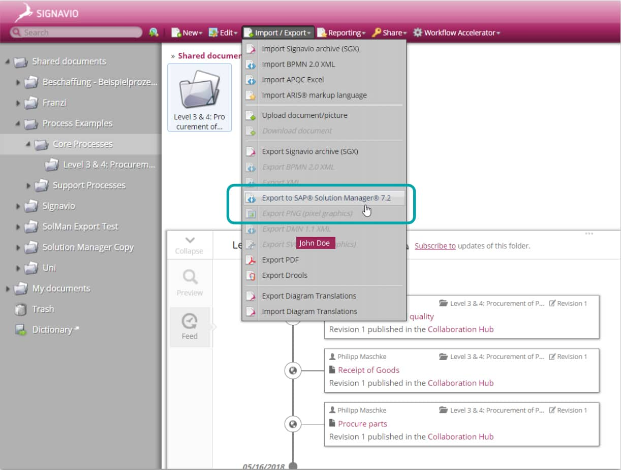 screenshot showing capability to export Signavio process maps to SAP SolMan
